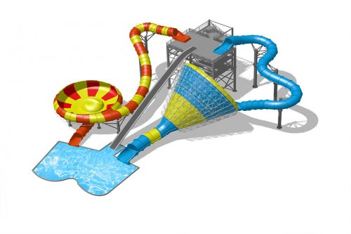 Best combination fiberglass water slides for aquatic park