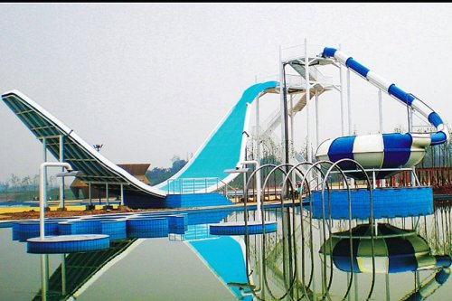 Giant Aqua Park Equipment Fiberglass Swing Water Slide for double interactive water fun